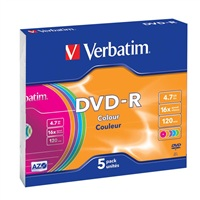 Verbatim DVD-R [ 5ks/kr., 4.7GB, 16x, slim jewel case, Colour ]