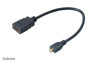 AKASA Kabel redukce HDMI micro na HDMI female, full HD, 25cm